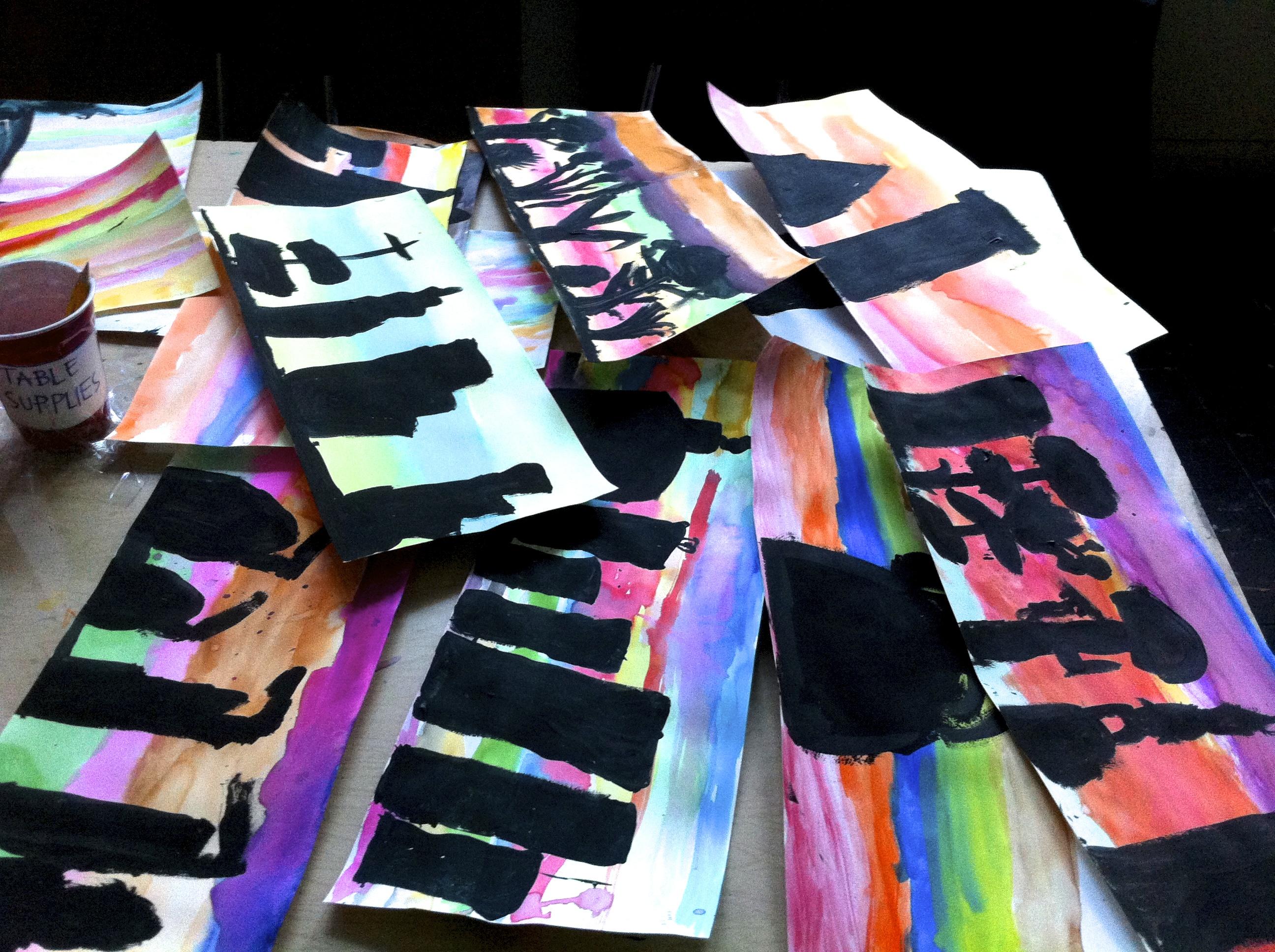 Cityscapes/Skylines. Mixed media, watercolors/acrylic. (Grades 3-4)