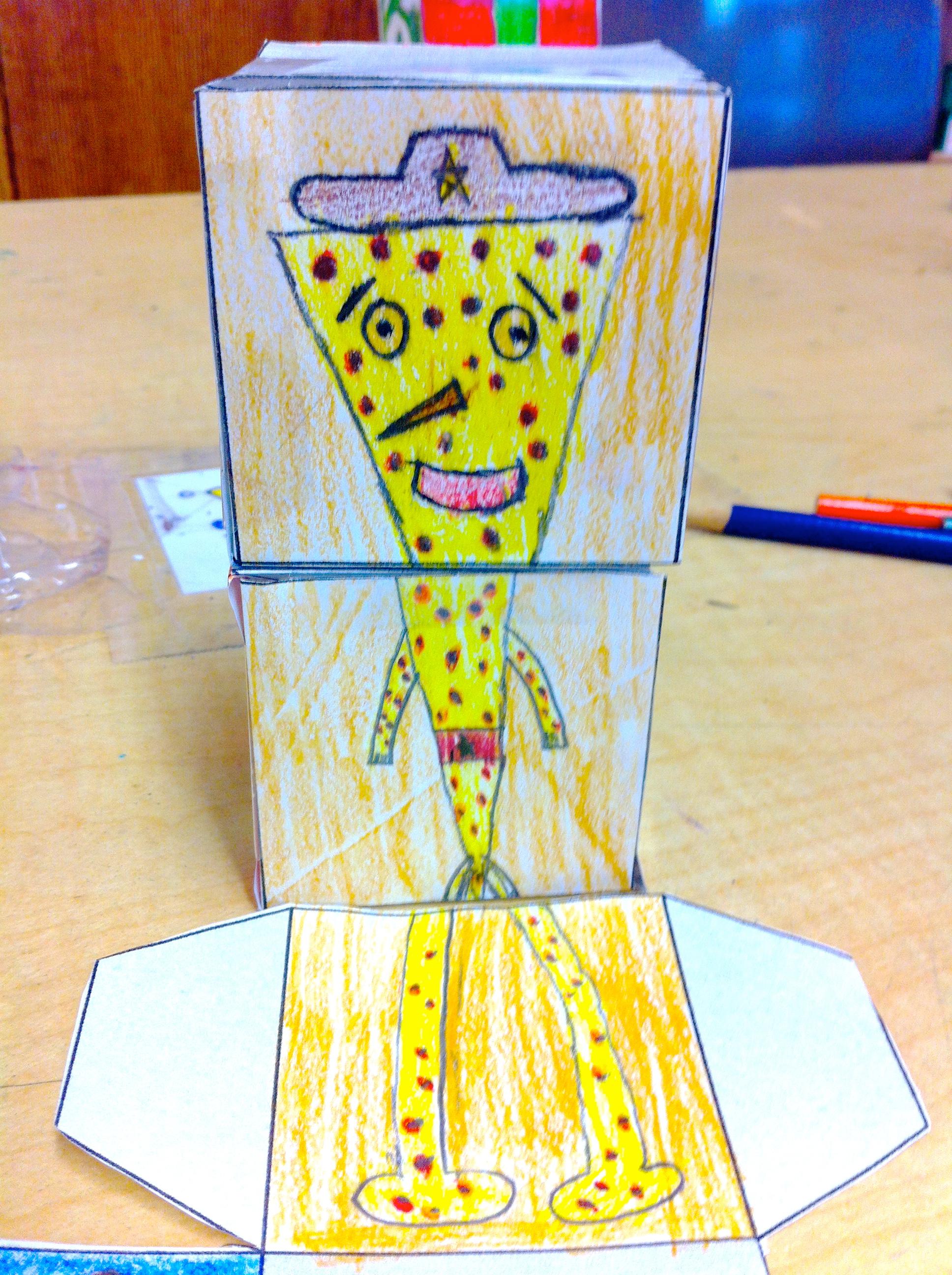 """Pizza Man."" Cube Creatures (Grade 5)"