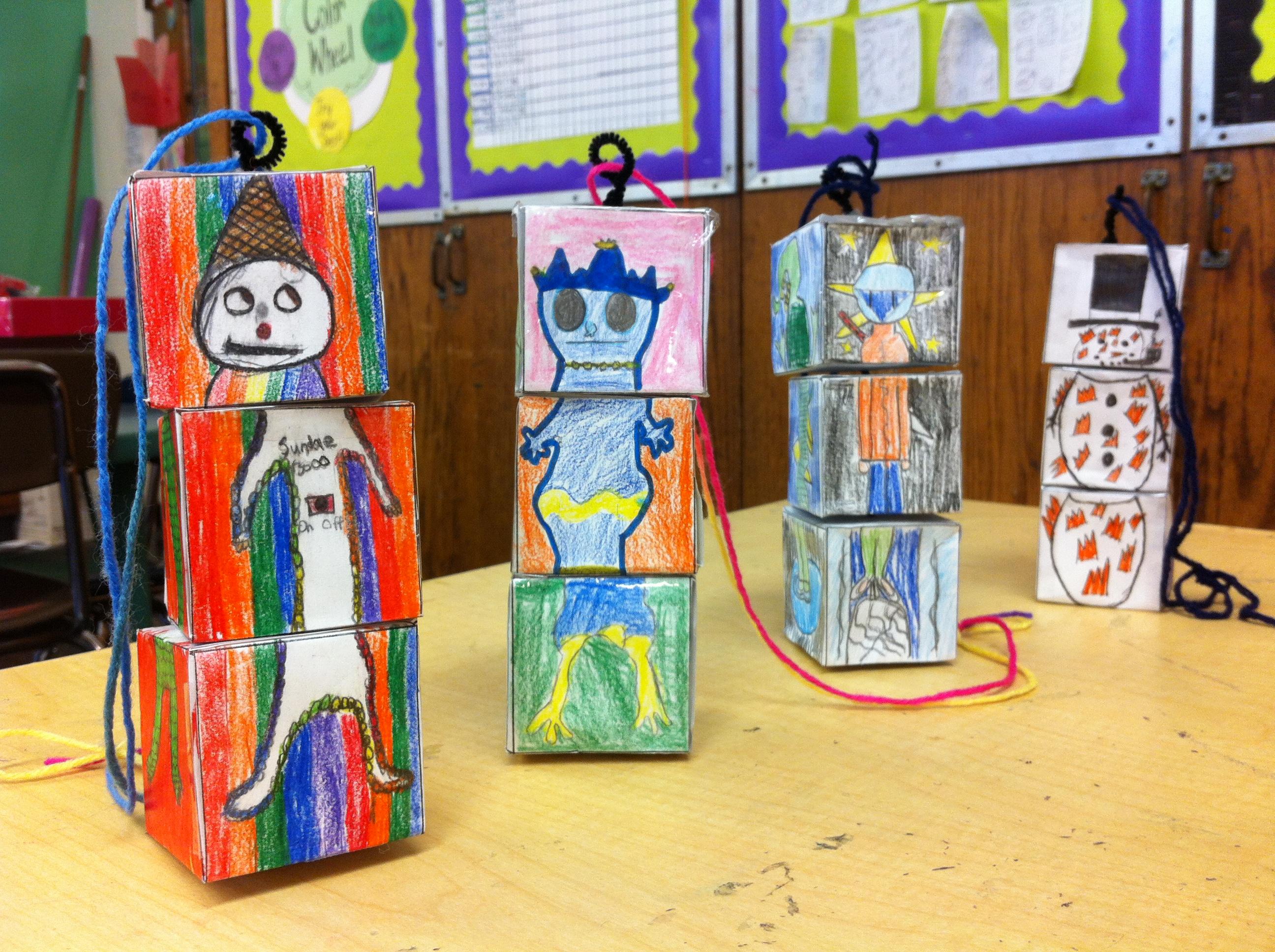 Cube Creatures. Colored pencil/paper art. (Grade 5)