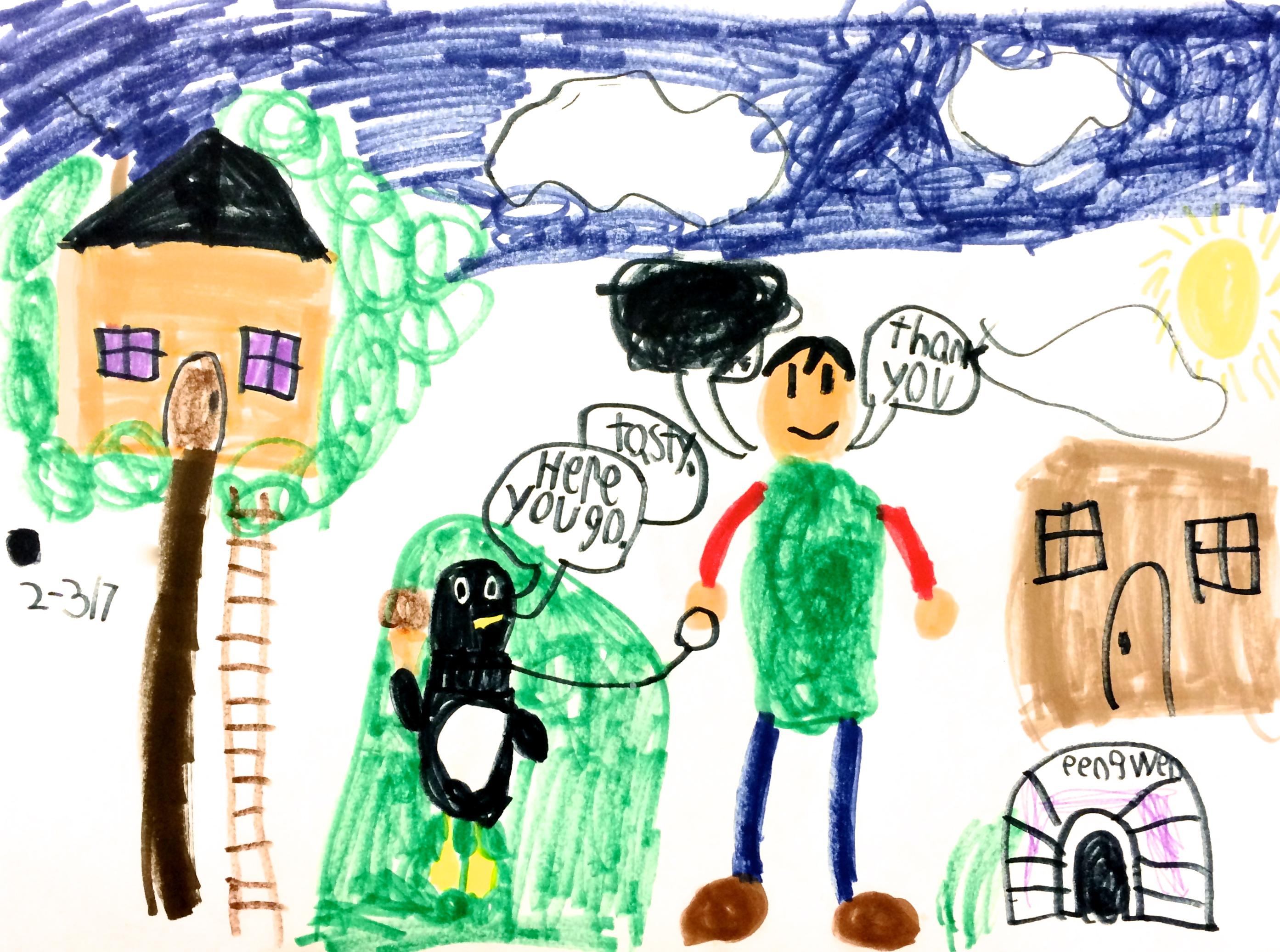 """My Penguin."" Animal Besties. Marker drawing. (Grade 2)"