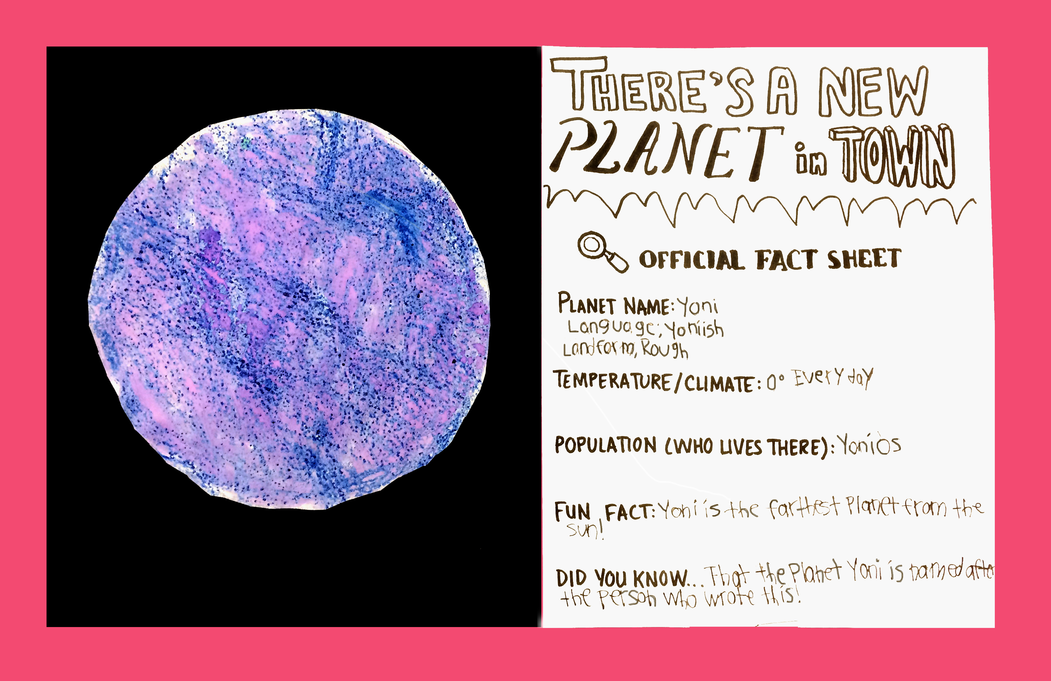 Alien Planet Landscapes. Mixed Media,  crayons/watercolor with text. (Grades 3-4)