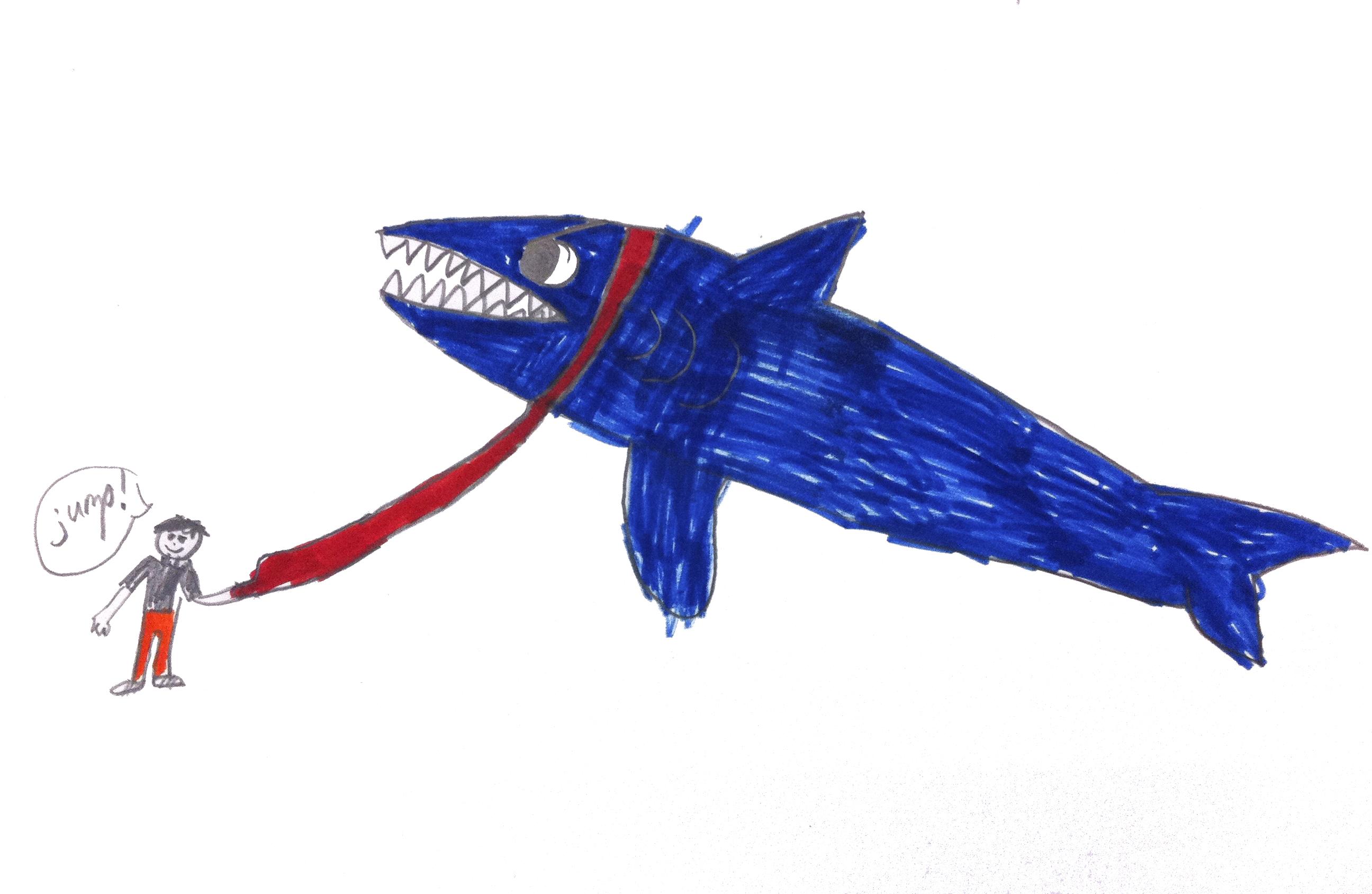 """Shark on a Leash."" My Animal Bestie. Markers on paper. (Grade 2)"