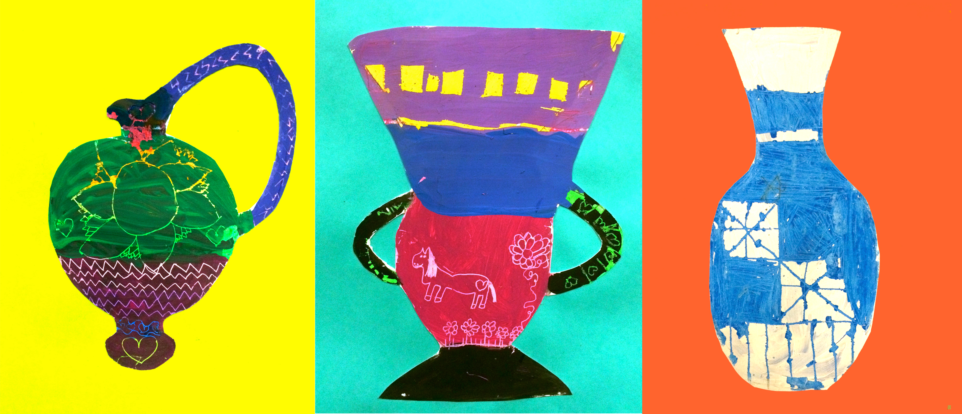 Vases. Mixed Media, acrylic paint/pastel carvings. (Grade: 2)