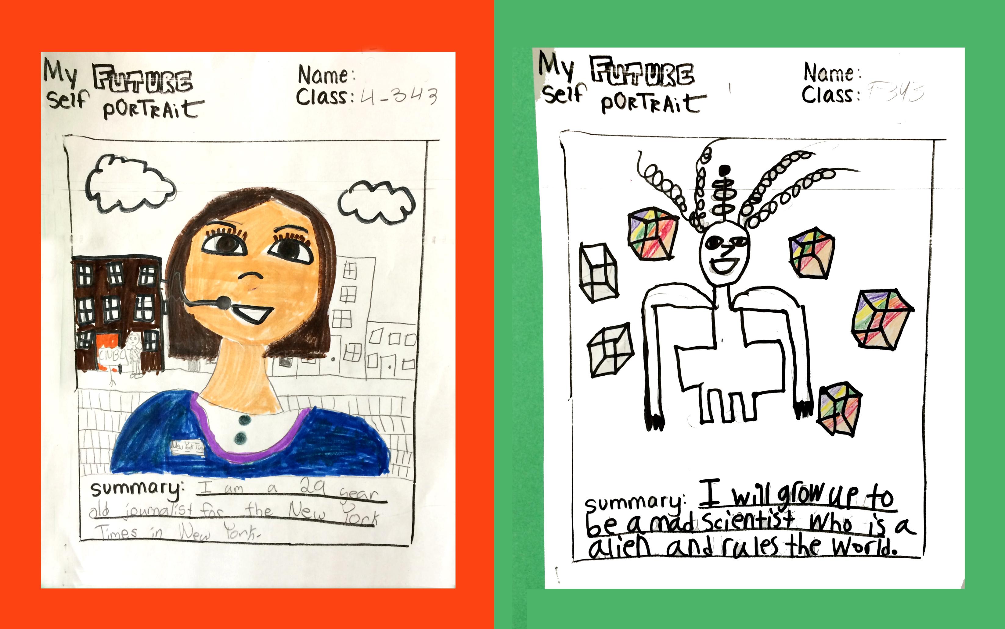 Future Self-Portraits. Marker drawings. (Grade 4)
